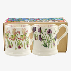 Set of 2 Sweet Pea Flower 1/2 Pint Mugs Boxed