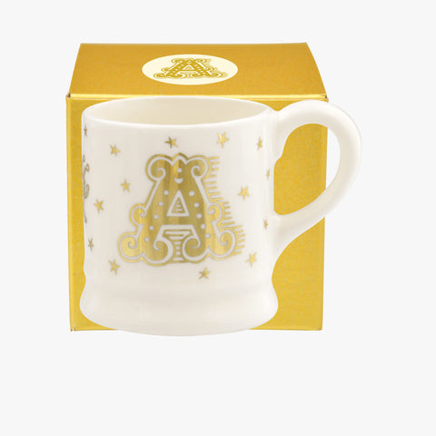 Gold Alphabet A  Tiny Mug Decoration Boxed