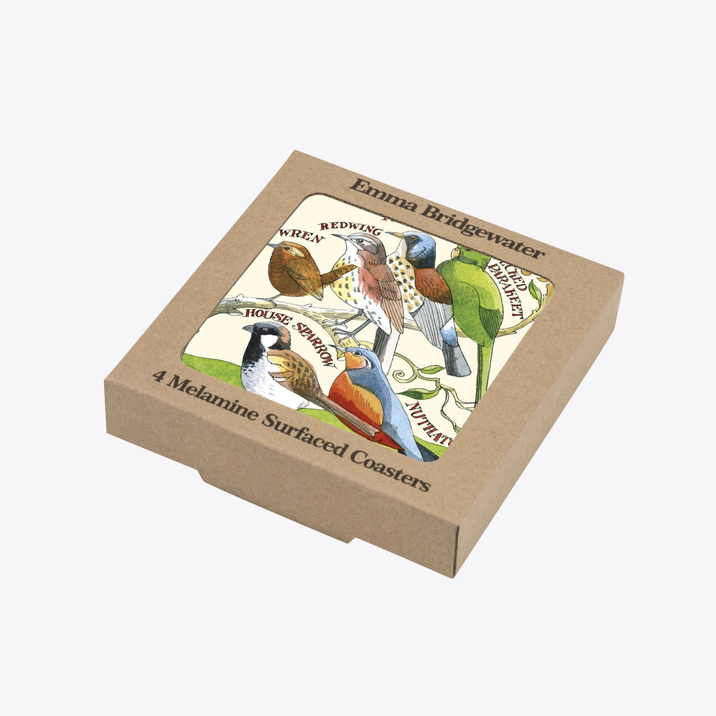 Garden Birds Set of 4 Melamine Coasters