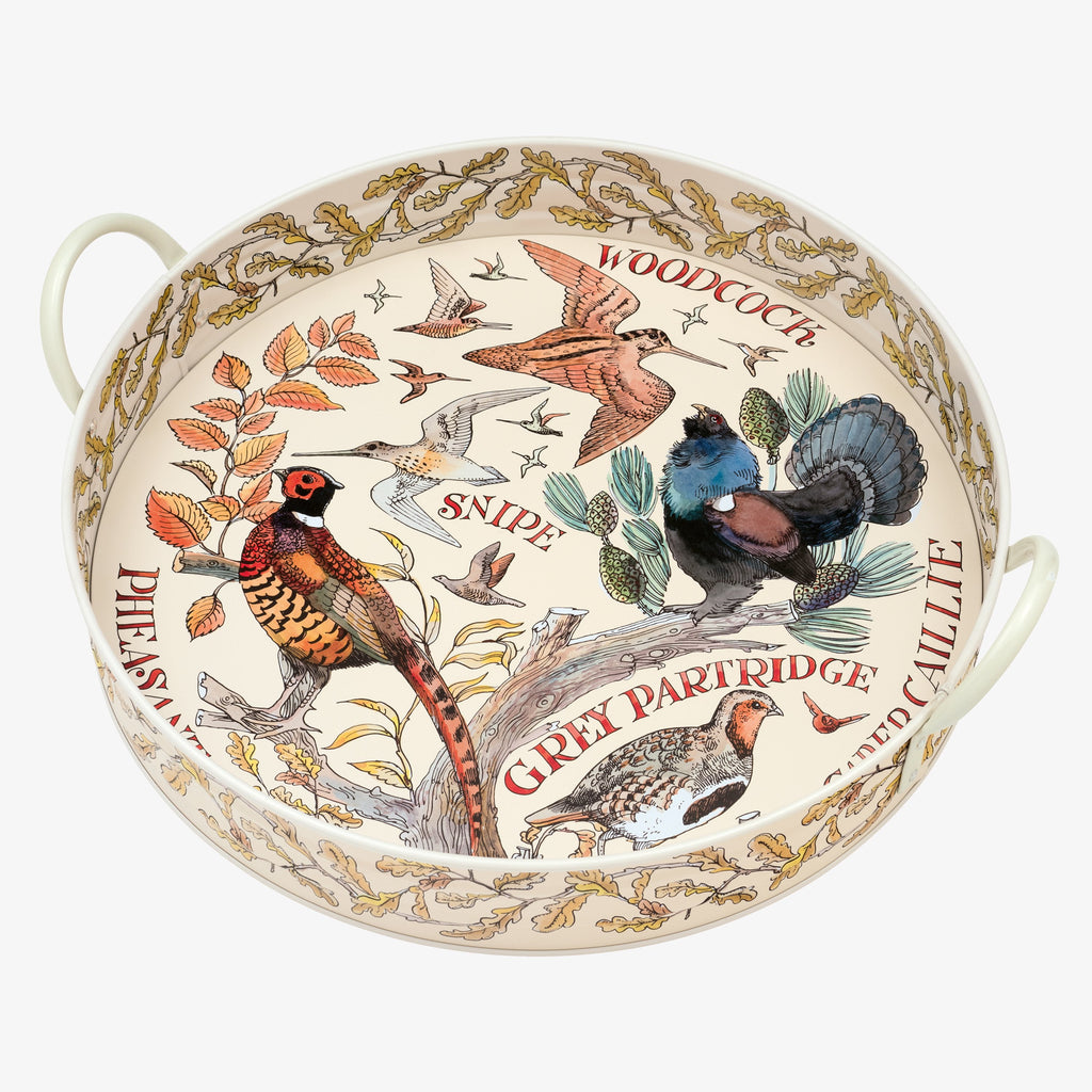 Game Birds Large Handled Tin Tray