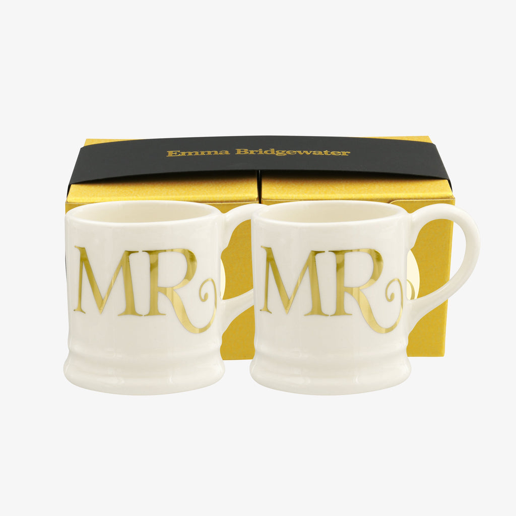 Gold Mr & Mr Set of 2 Tiny Mugs Boxed