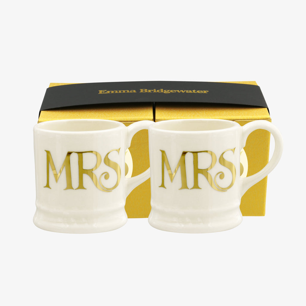 Gold Mrs & Mrs Set of 2 Tiny Mugs Boxed