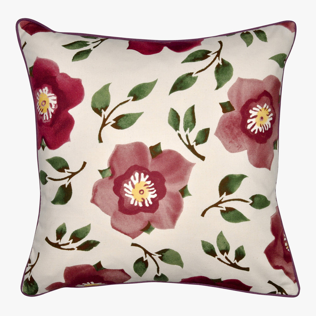 Hellebore and Coral Cushion Plum/Green/Pink