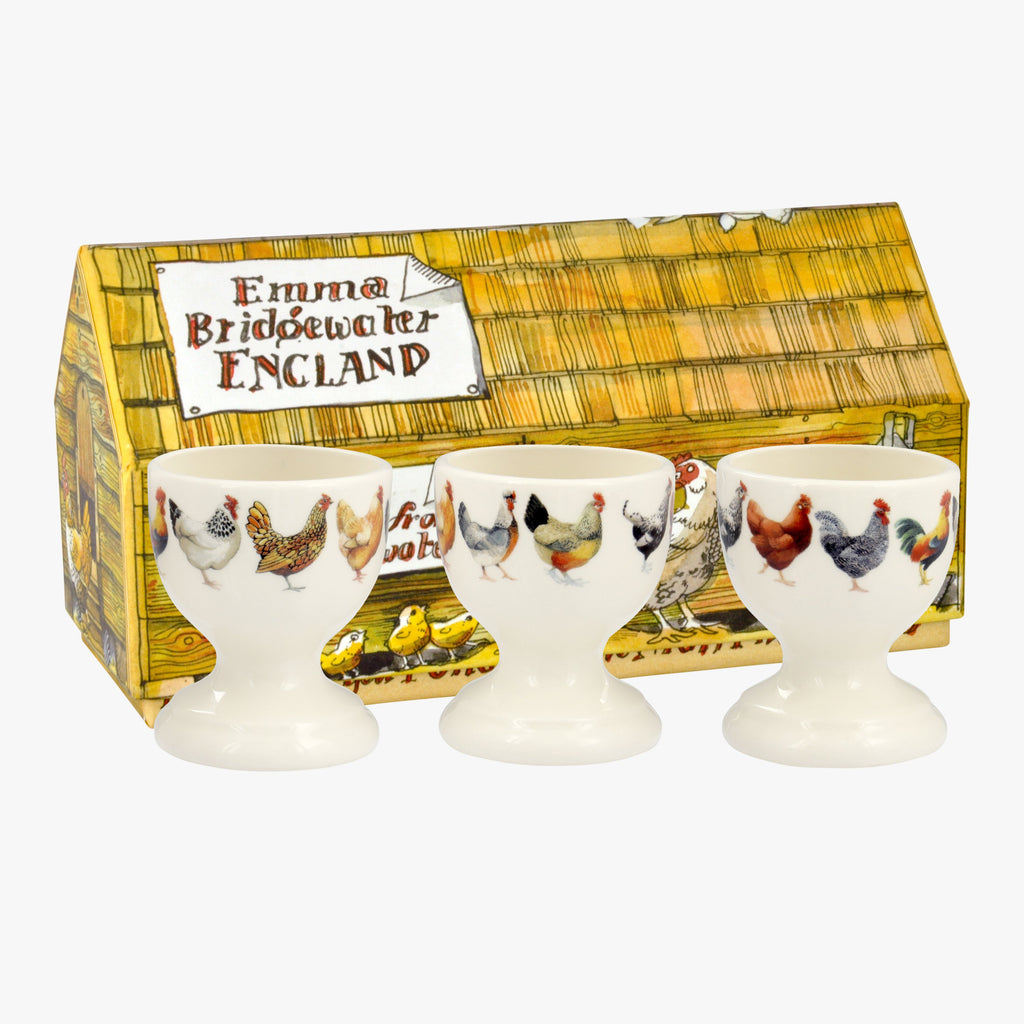 Emma Bridgewater Hen & Toast Set of 3 Egg Cups Boxed - Vintage style ceramic egg cups decorated with different Hens of various colours. Adds a fun touch to your table setting.