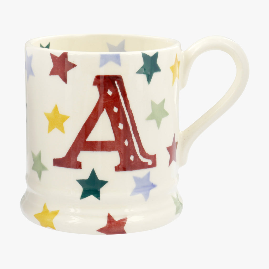 Polka Star Alphabet A 1/2 Pint Mug