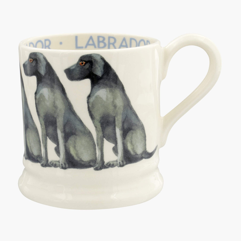 Emma Bridgewater Dogs Black Labrador Half Pint Mug - English earthenware mug made in the UK printed with black labradors as a cute design, great gift idea for dog-lovers