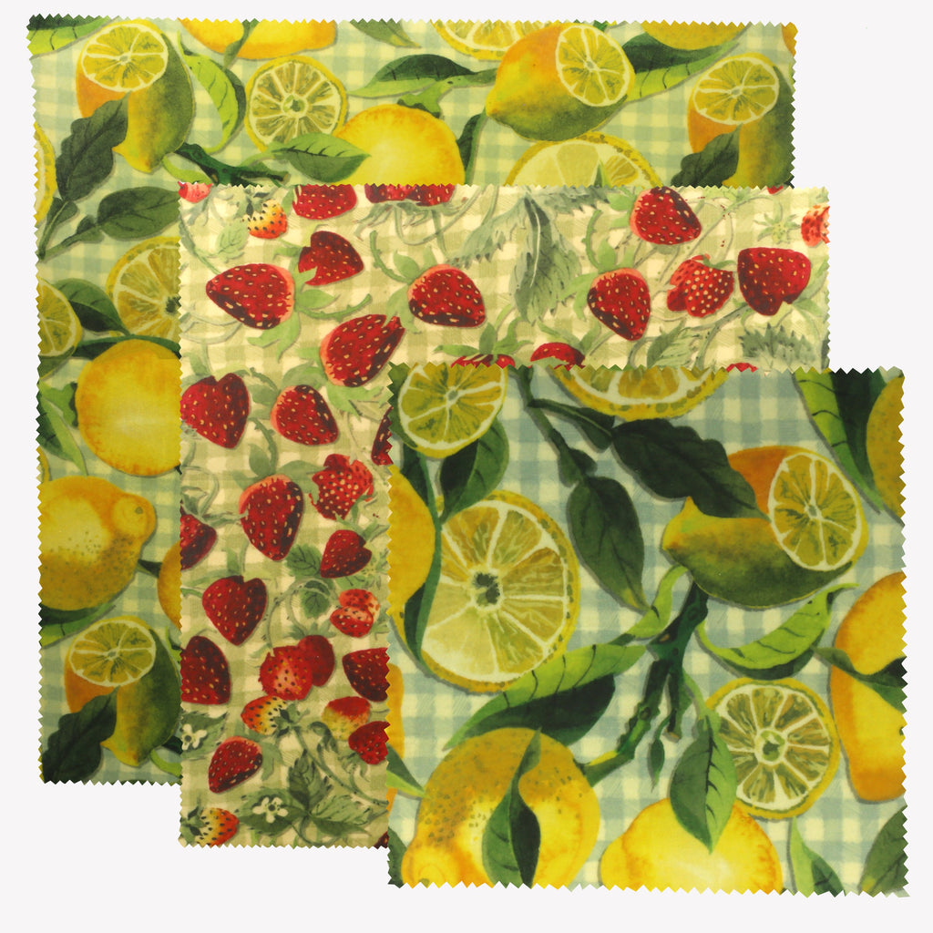 Vegetable Garden Fruits Pack of 3 Beeswax Wraps