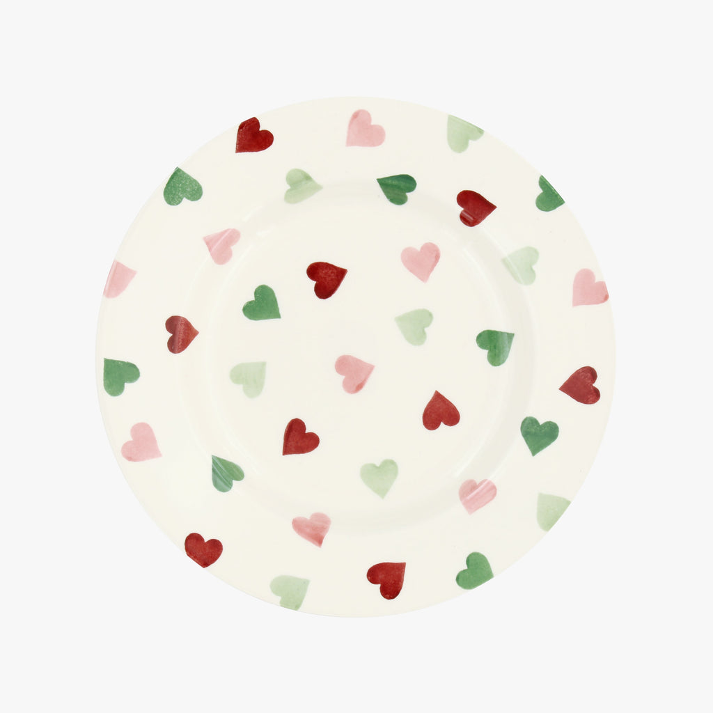 "Seconds Pink & Green Hearts 8 1/2"" Plate"