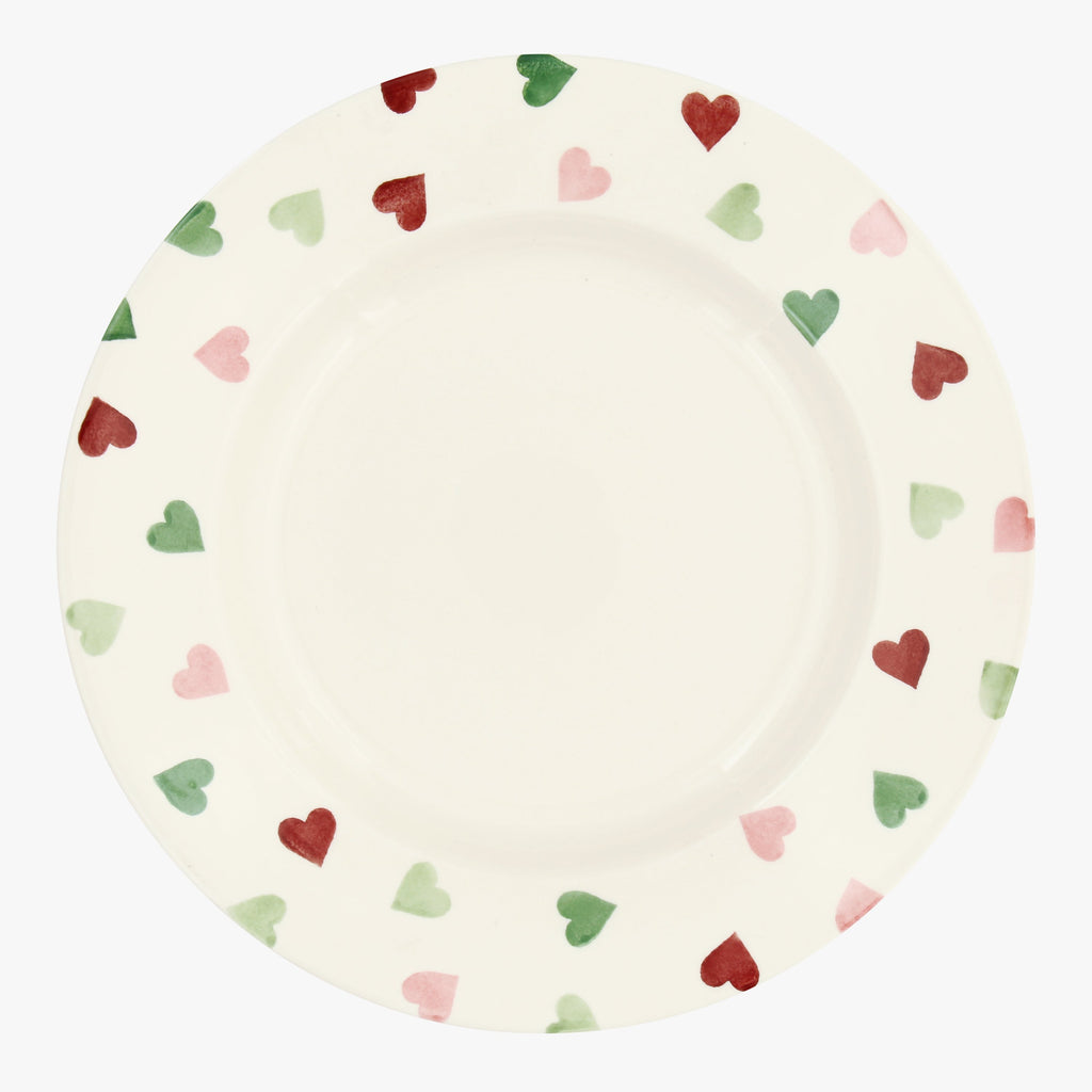 "Pink & Green Hearts 10 1/2"" Plate"