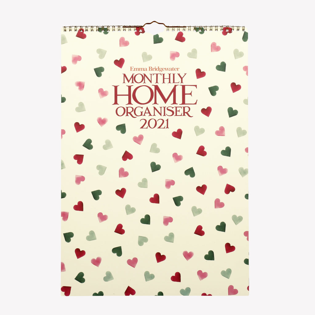 Pink And Green Hearts 2021 A3 Home Organiser