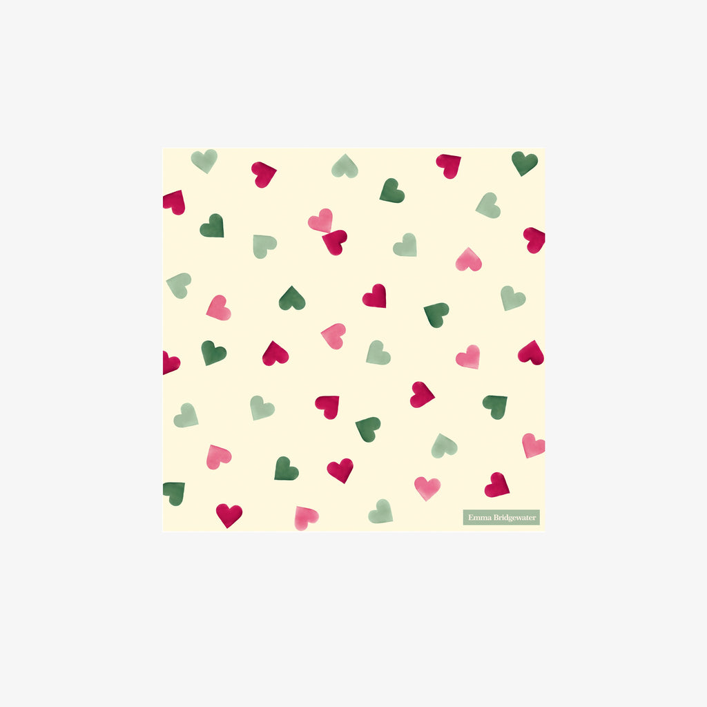 Pink & Green Hearts Cocktail Napkins