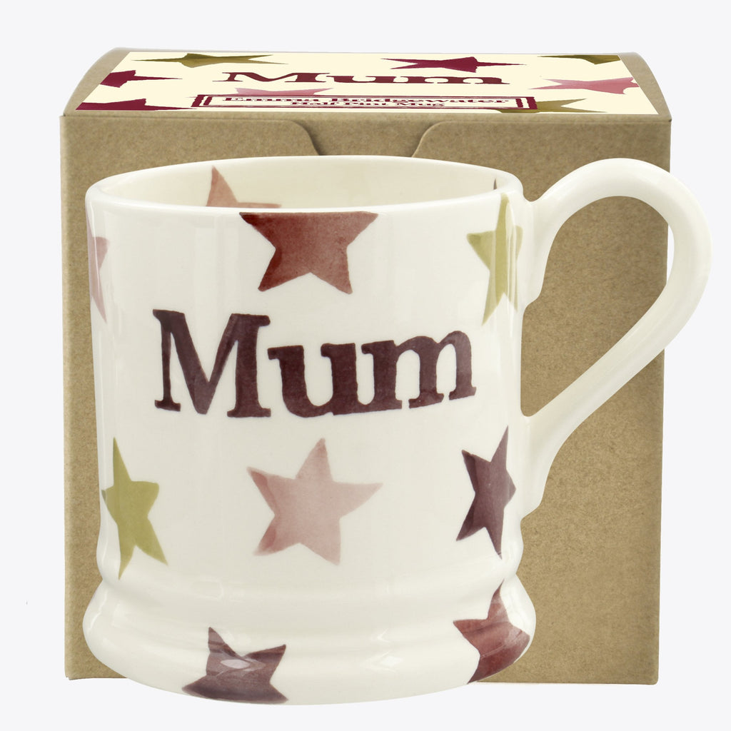 Pink & Gold Stars 'Mum' 1/2 Pint Mug Boxed