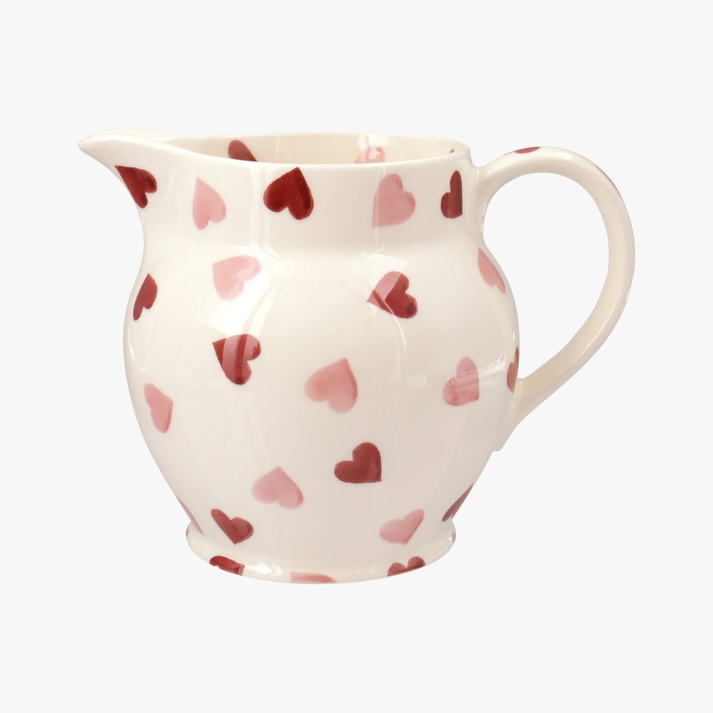 Seconds Pink Hearts 1 1/2 Pint Jug