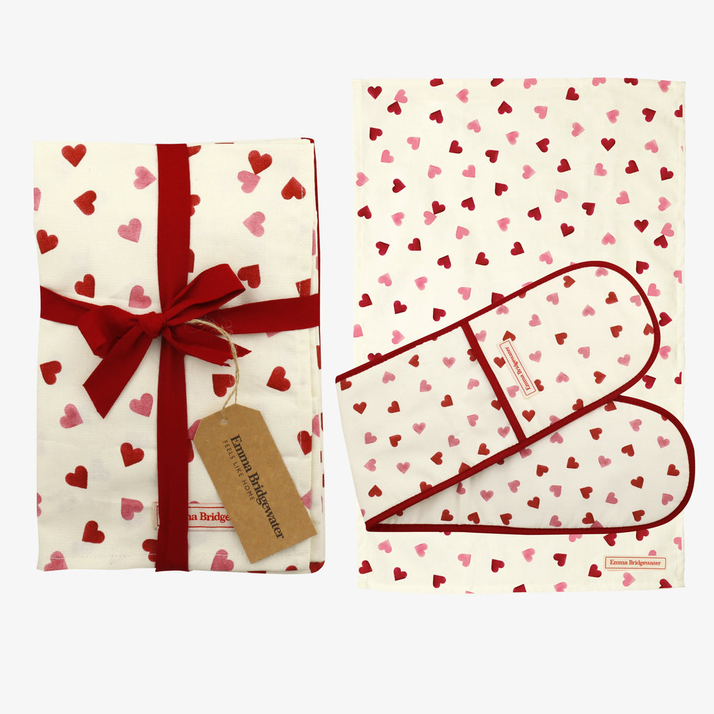 Pink Hearts Double Oven Glove & Tea Towel Set