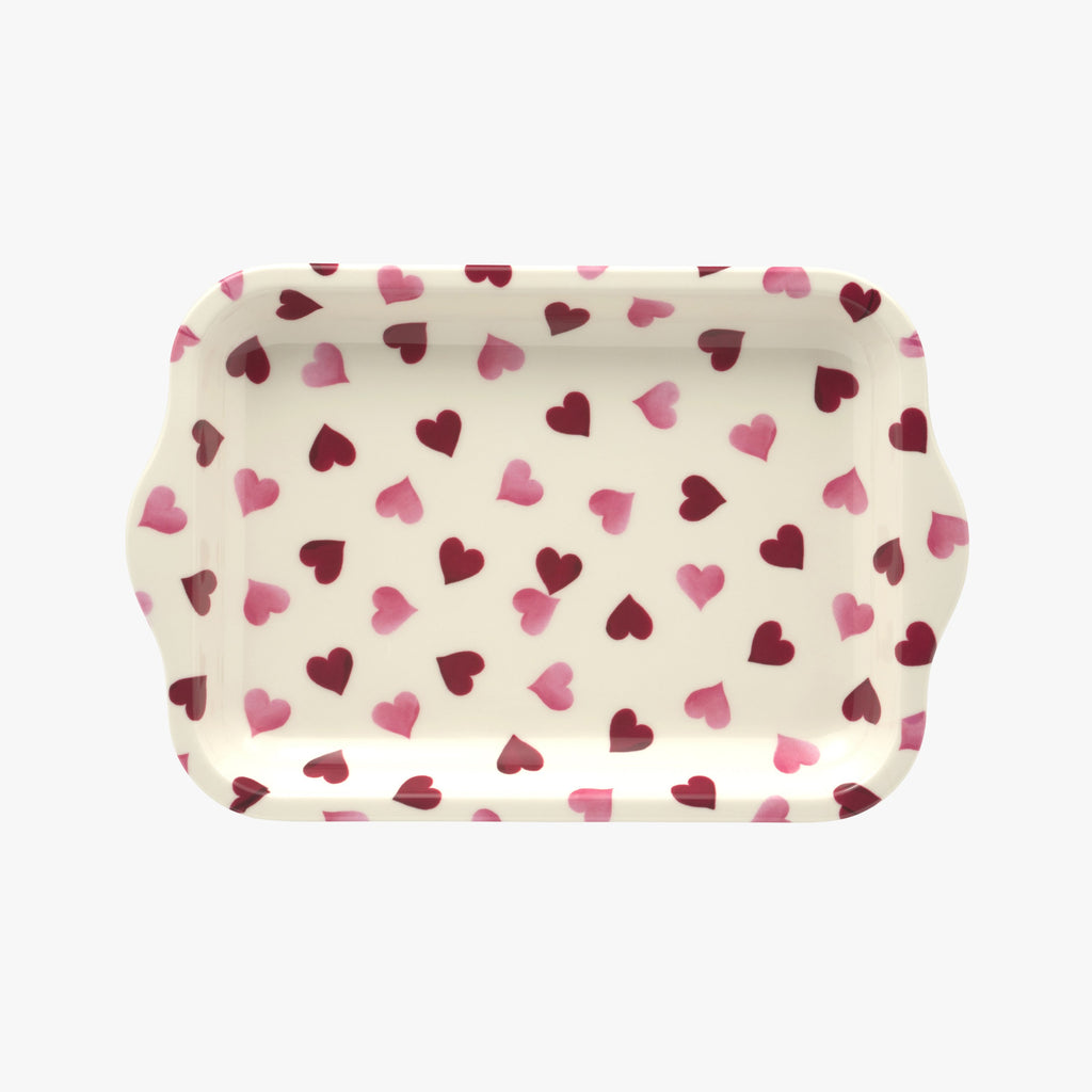 Pink Hearts Small Melamine Tray