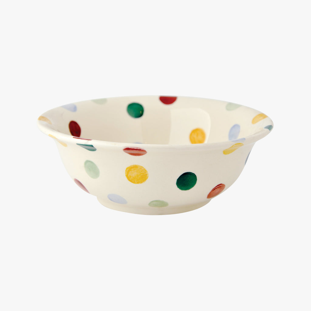 Emma Bridgewater Polka Dot Creal Bowl - white english earthenware bowl with colourful polka dots for your favorite cereal and milk. Brings colour to breakfast time or desserts!