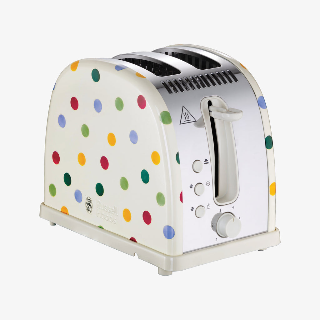 Russell Hobbs and Emma Bridgewater Polka Dot 1500 watt 2-slice Toaster - 2 slice, wide slot toaster perfect for toasting crumpets, sourdough bread and wide sliced loafs.