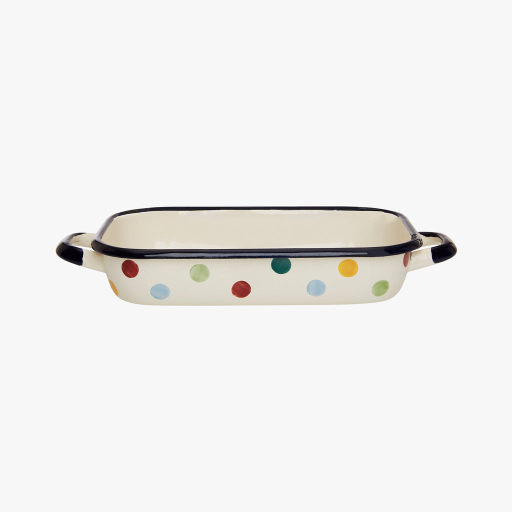 Polka Dot Enamel Small Roasting Dish