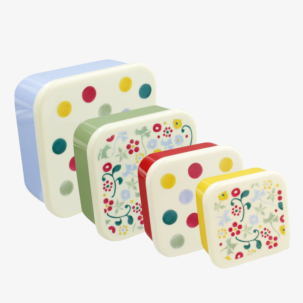 Polka dot Set of 4 Plastic Snack Tubs