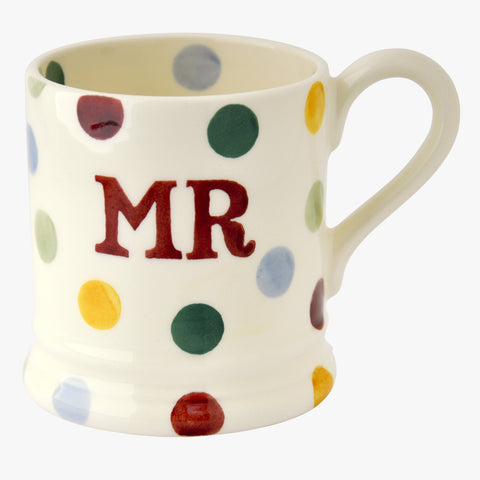 Polka Dot Mr & Mrs Set of 2 1/2 Pint Mugs Boxed