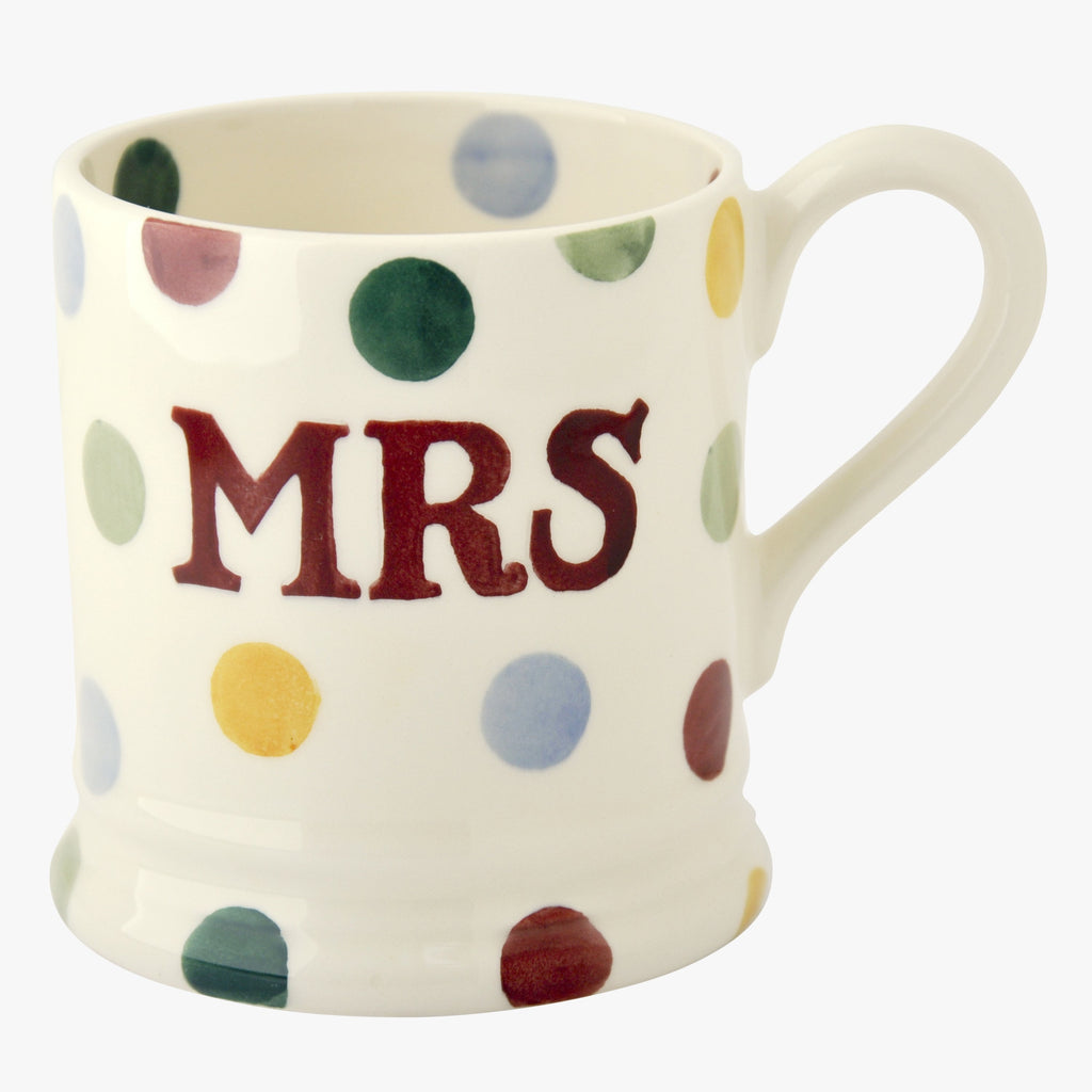 Seconds Polka Dot Mrs 1/2 Pint Mug