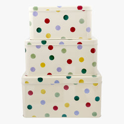 Polka Dot Set of 3 Square Cake Tins