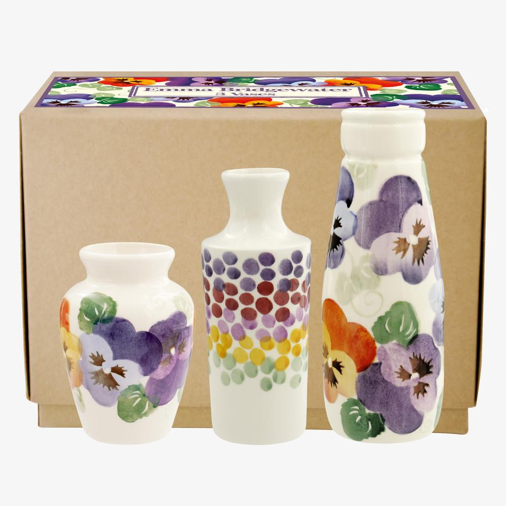 Purple Pansy Set of 3 Vases Boxed