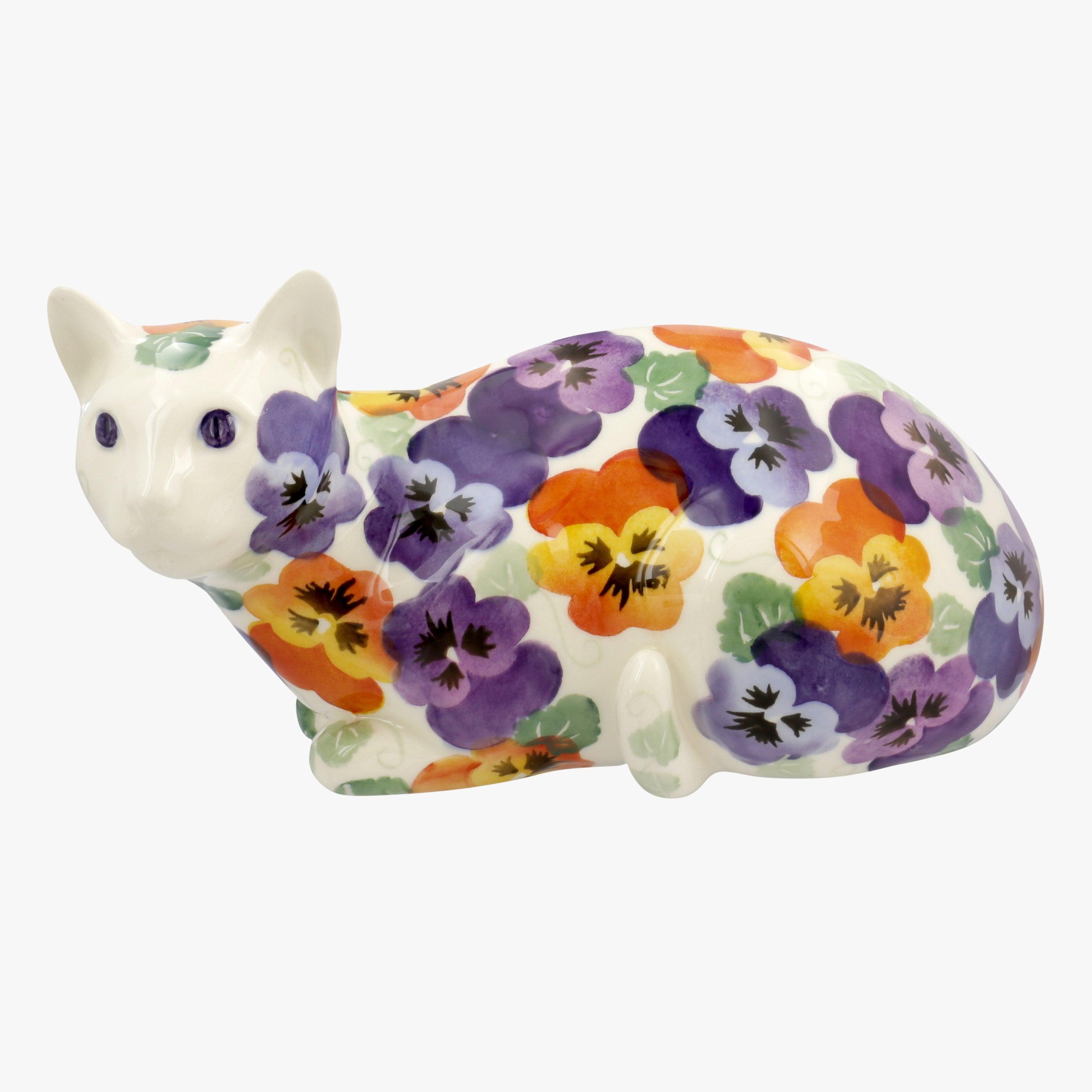 Image of Seconds Purple Pansy Lying Down Cat Right