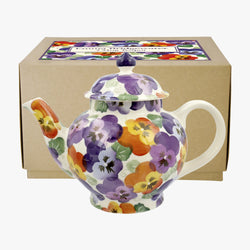 Purple Pansy 4 Mug Teapot Boxed