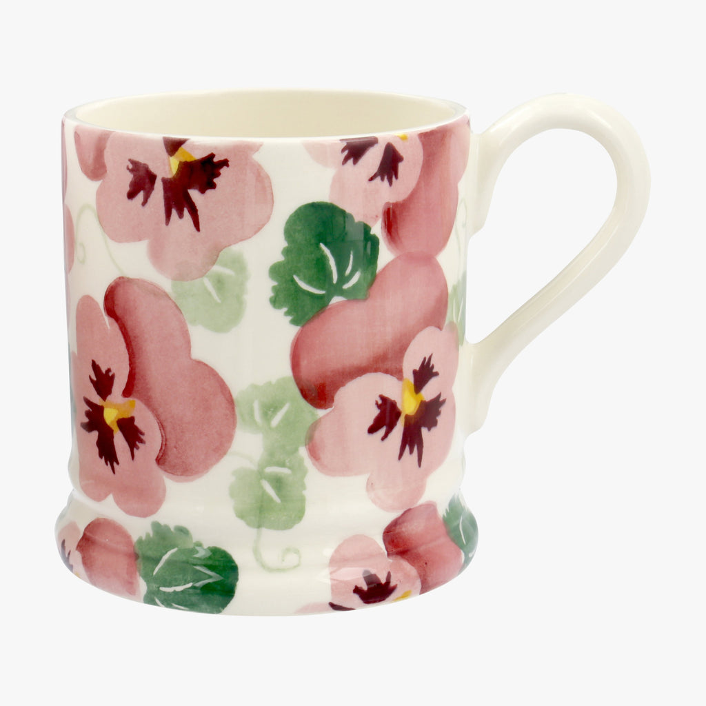 Seconds Pink Pansy 1/2 Pint Mug