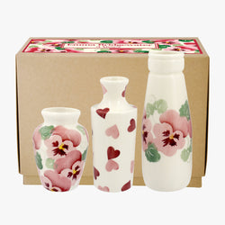 Pink Pansy Set of 3 Vases Boxed