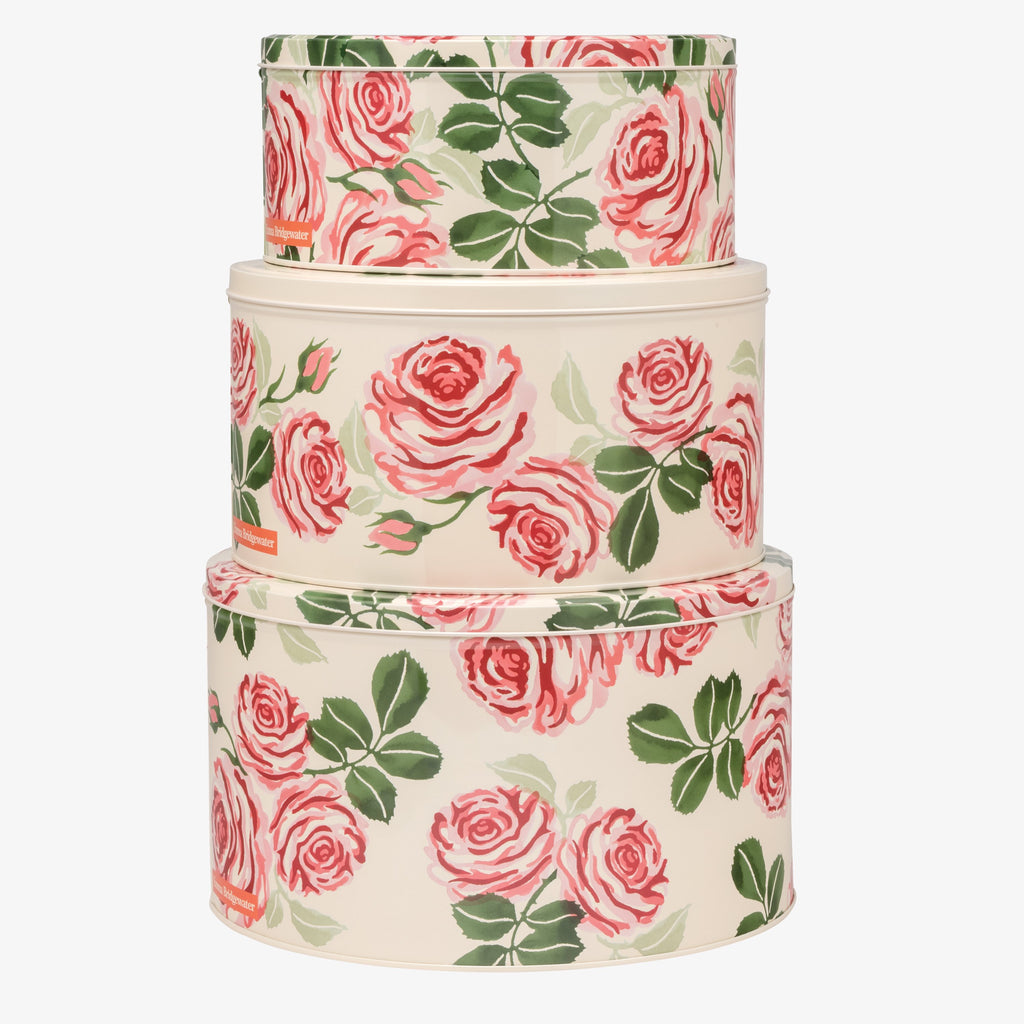 Pink Roses Set of 3 Round Cake Tins