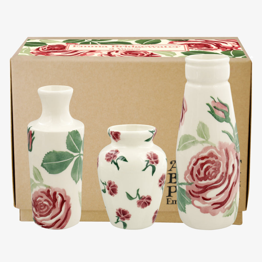 Pink Roses Set Of 3 Vases Boxed