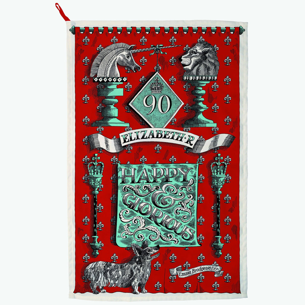 Queens 90th Birthday Tea Towel