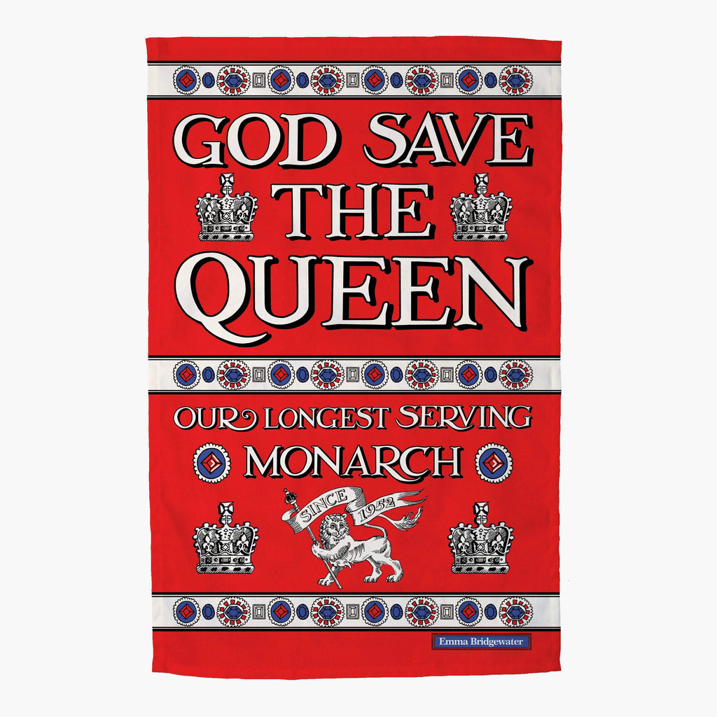 Emma Bridgewater God Save the Queen Tea Towel - 100% cotton kitchen textile tea towels that reads 'God save the Queen, our longest serving Monarch' with designs that symbolise royalty
