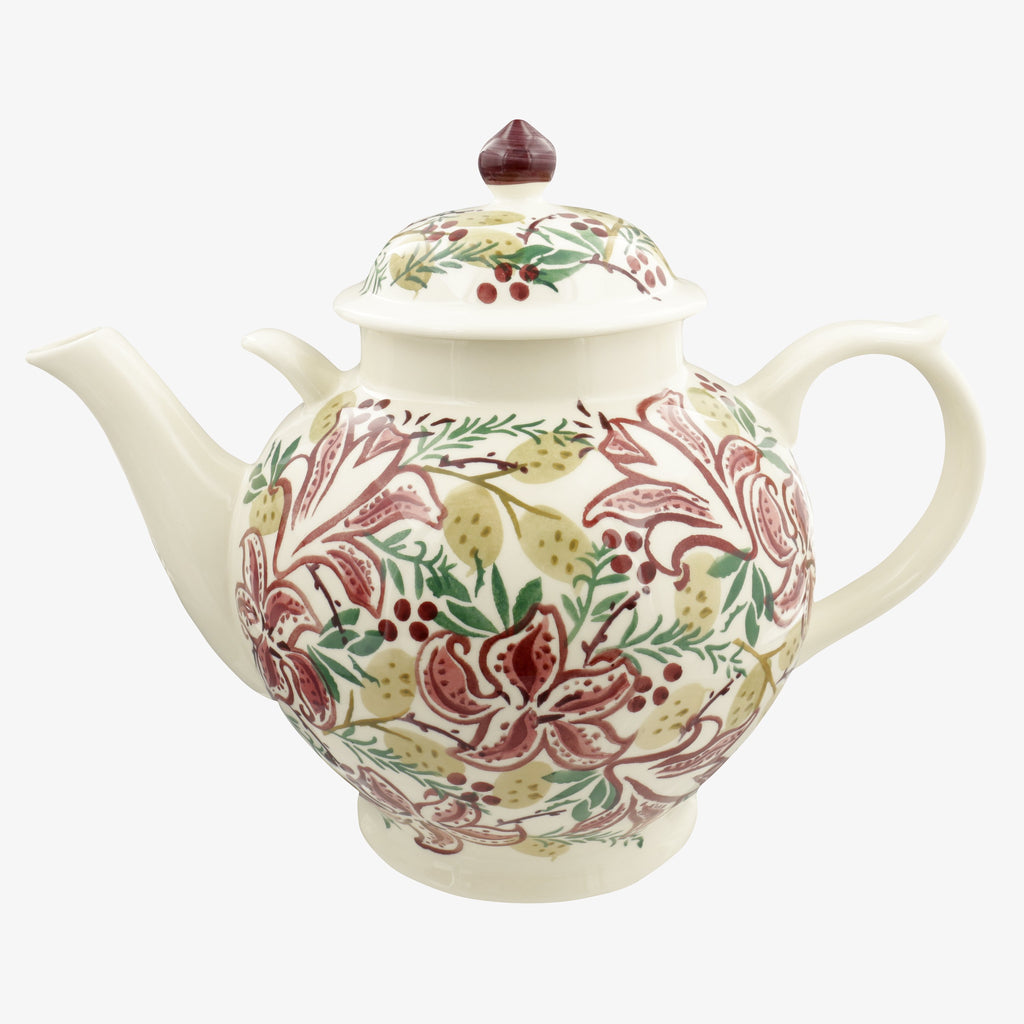 Red Stargazer Lily Gallon Teapot