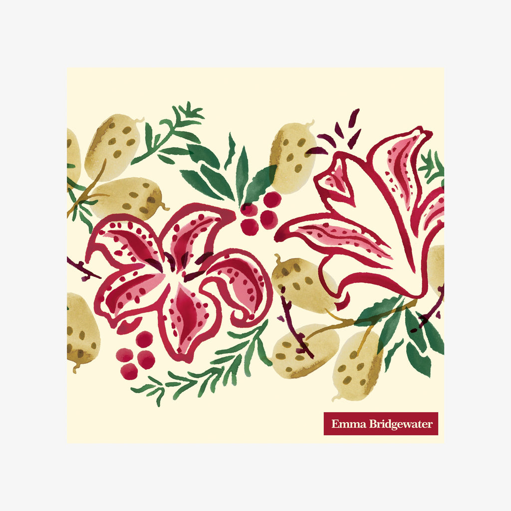Red Stargazer Lily Lunch Napkins