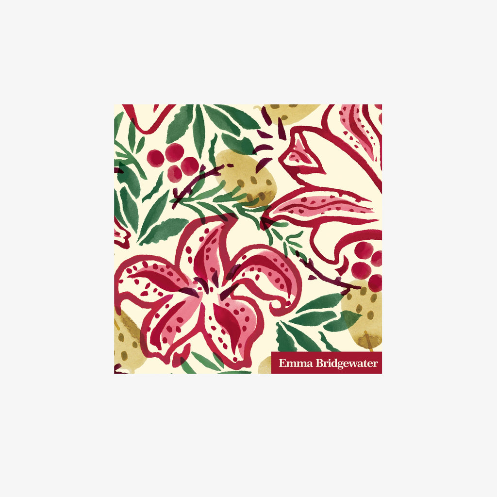 Red Stargazer Lily Cocktail Napkins