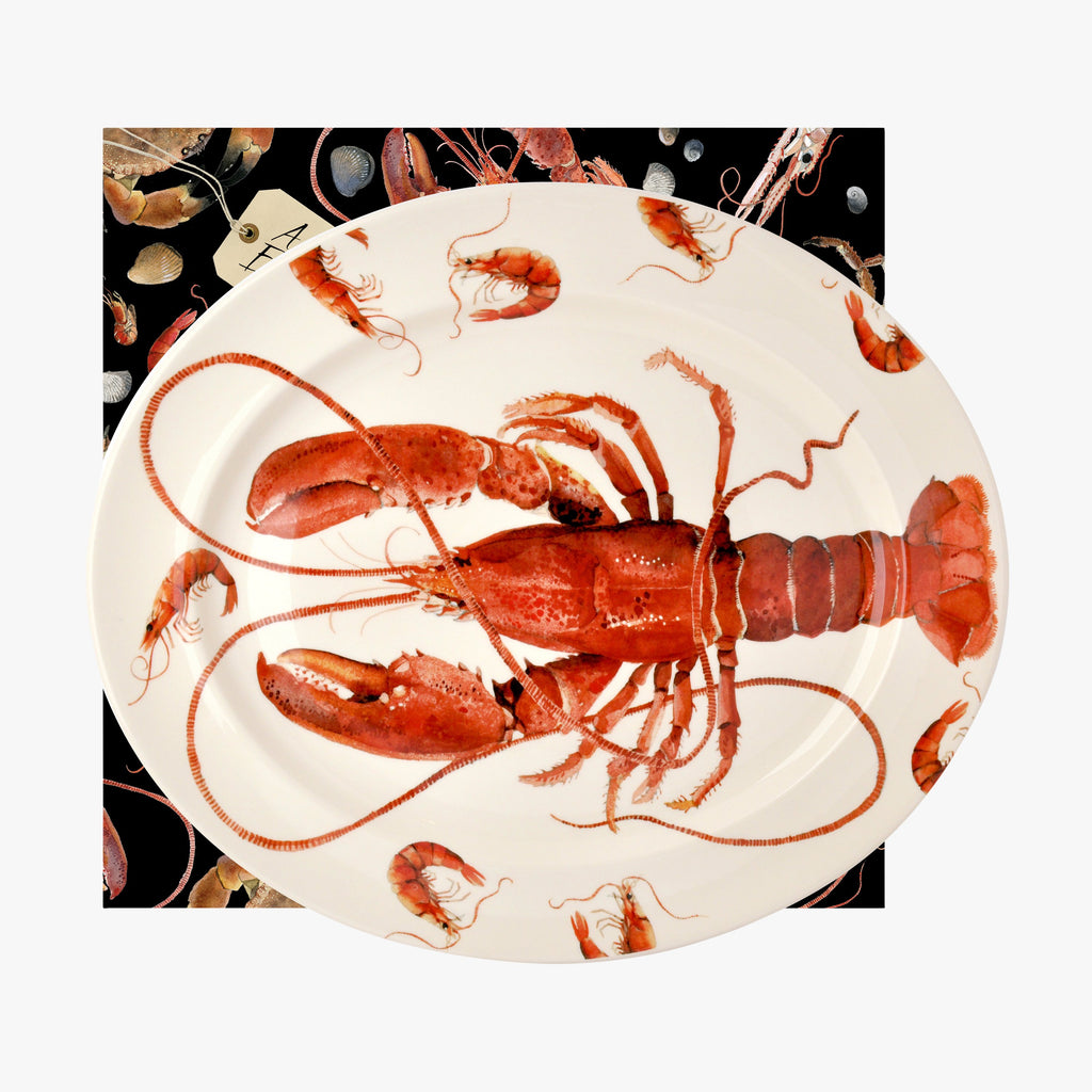 Emma Bridgewater Shellfish Lobster Large Oval Platter Boxed - Use as a serving platter for your favorite seafood. A great housewarming gift for barbecues and other occasions