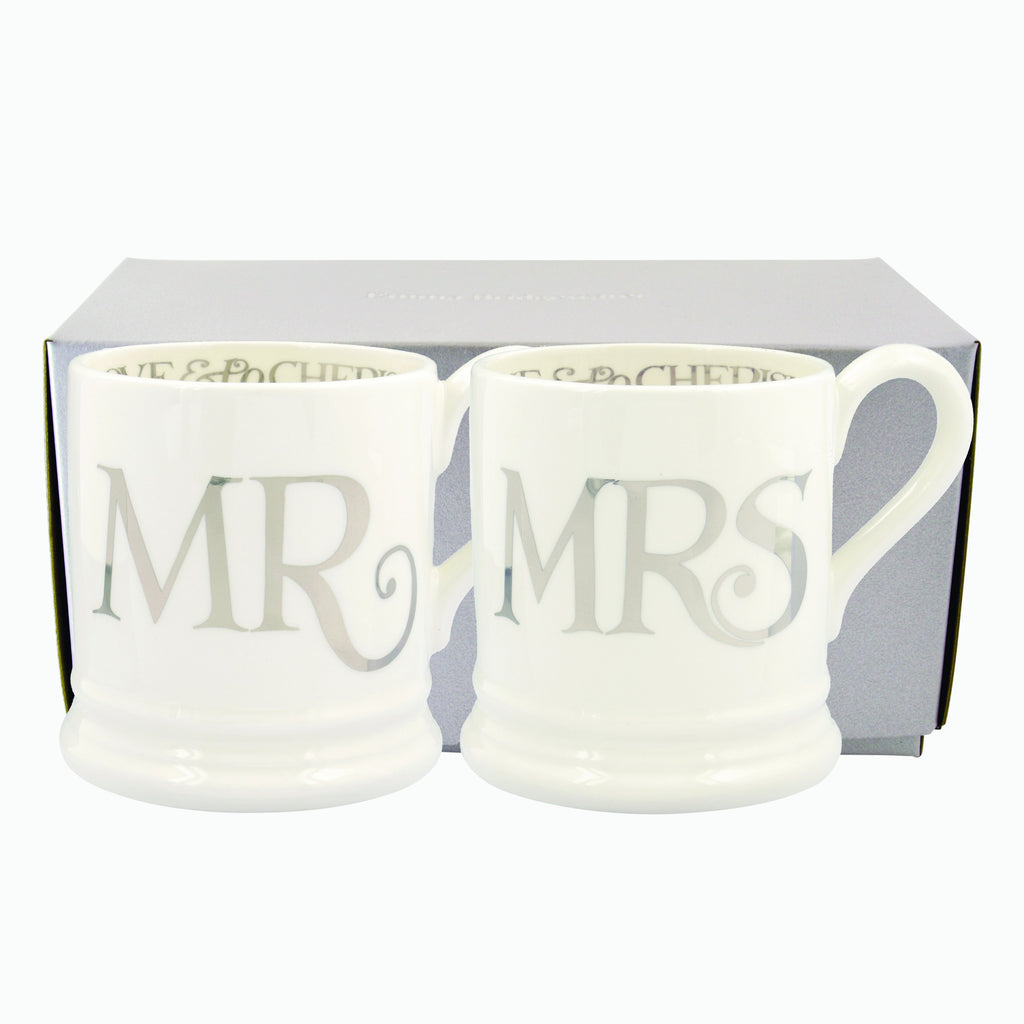 Silver Toast Mr & Mrs Set of 2 1/2 Pint Mugs Boxed