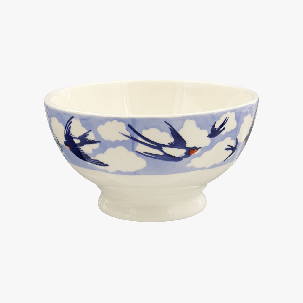 Blue Swallows In The Clouds French Bowl