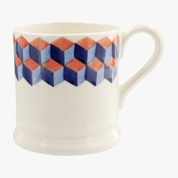 Red & Blue Tumbling Blocks 1/2 Pint Mug