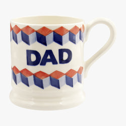 Red & Blue Tumbling Blocks Dad 1/2 Pint Mug