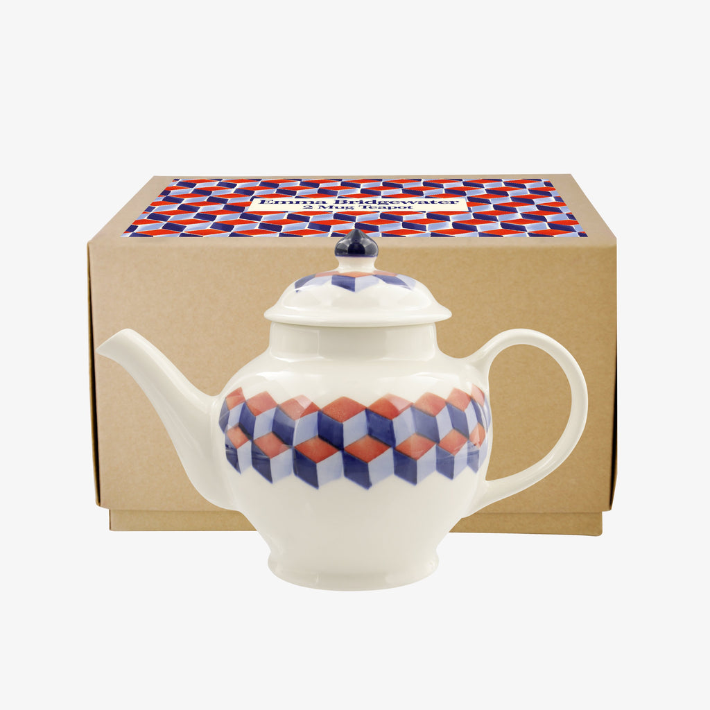 Red & Blue Tumbling Blocks 2 Mug Teapot Boxed