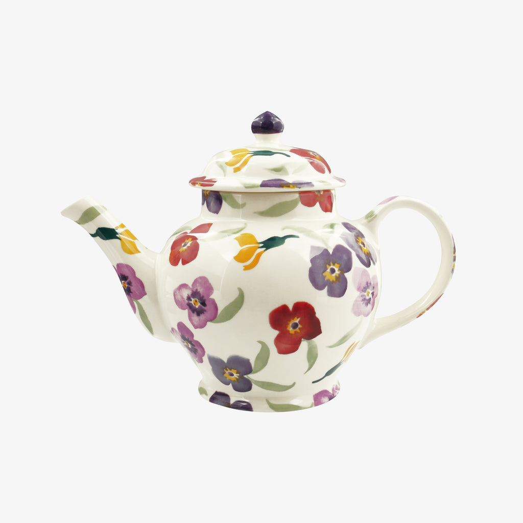 Purple Wallflower 3 Mug Teapot