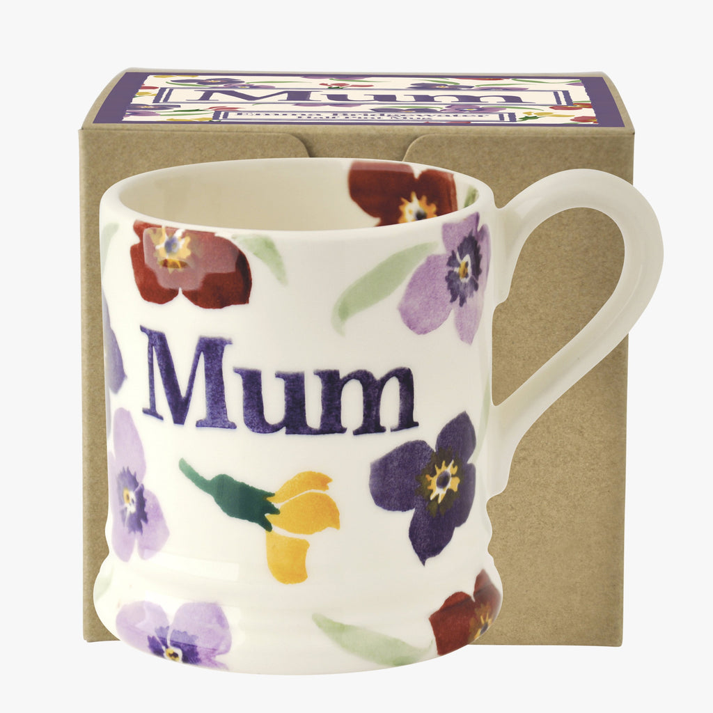 Purple Wallflower 'Mum' 1/2 Pint Mug Boxed