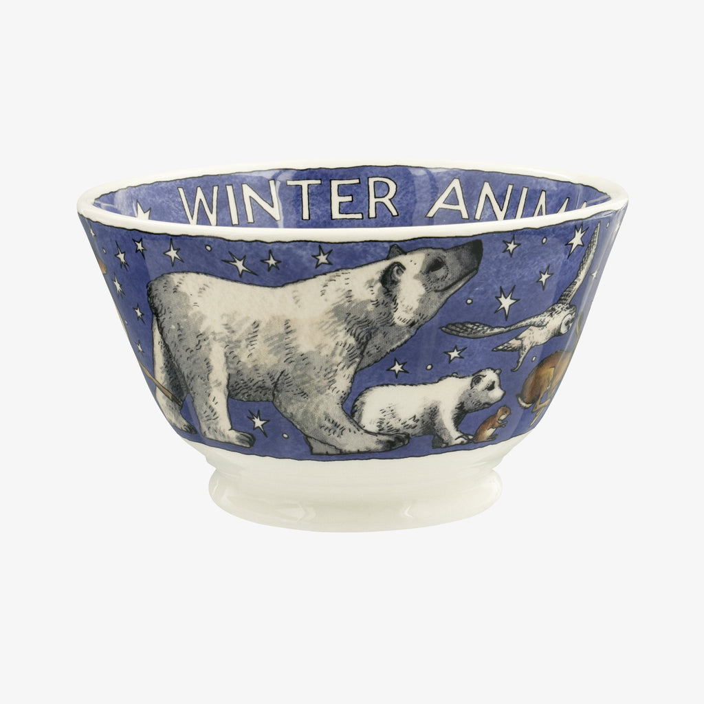 Winter Animals Small Old Bowl