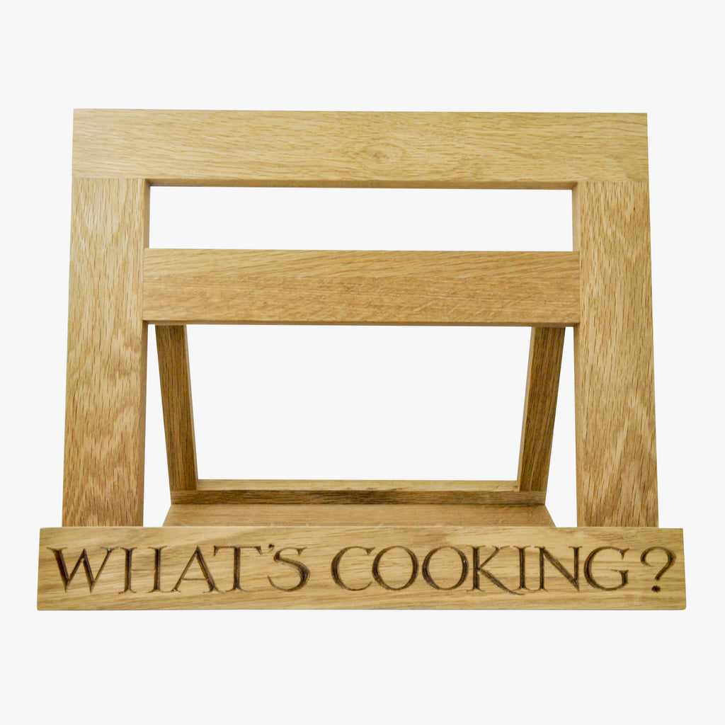 Emma Bridgewater Black Toast Wooden Recipe Stand that reads 'WHAT'S COOKING?'. Prop up cook books for easy reading while cooking
