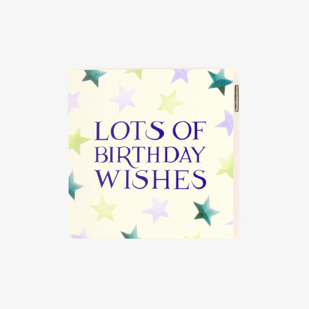 Emma Bridgewater 'Lots of Birthday Wishes' Star Card - happy birthday greeting card designed with colourful blue and yellow stars, blank inside for writing a more personal message. Unisex