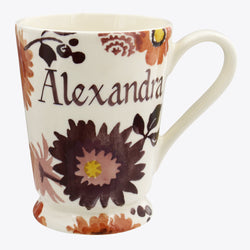 Personalised Bright Dahlias Cocoa Mug